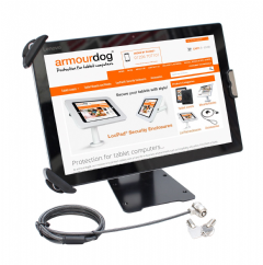 "armourdog® secure flexible security mount / stand for 7.9"" to 13"" tablets in black"